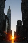 Manhattanhenge, May 29/30, when the sunset aligns with NYC's grid.